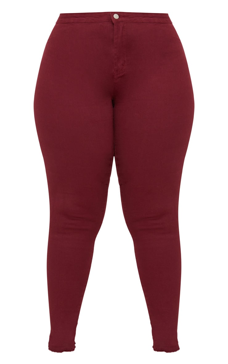 Plus Burgundy Disco Skinny Jeans 3