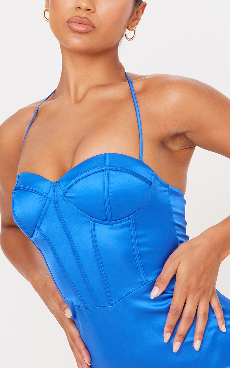 Blue Strappy Corset Detail Halterneck Bodycon Dress 4