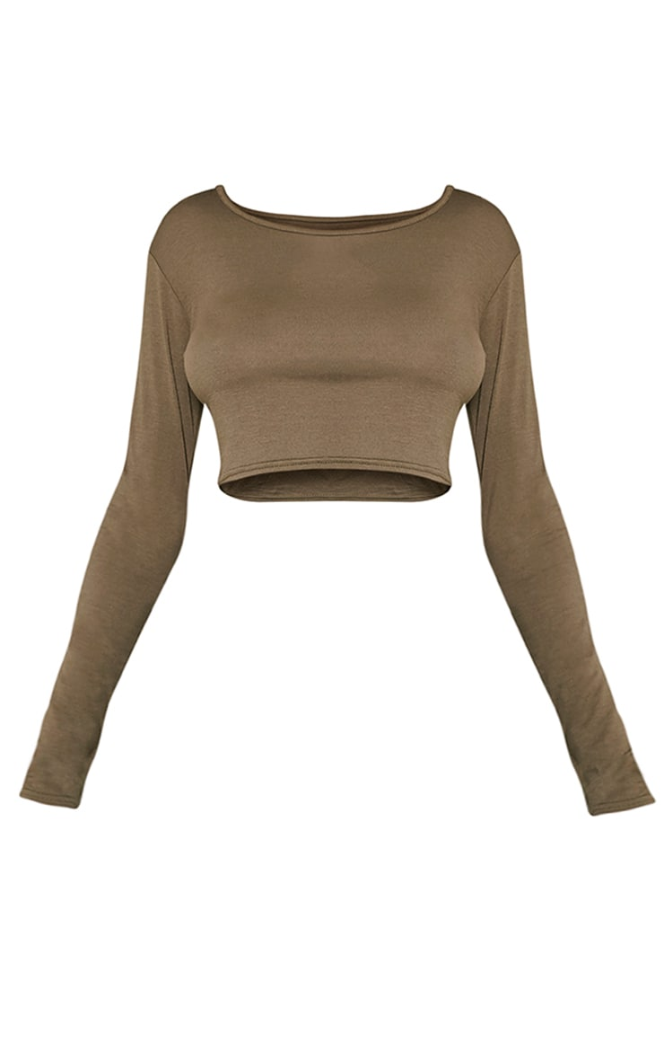 Basic Khaki Long Sleeved Crop Top 3