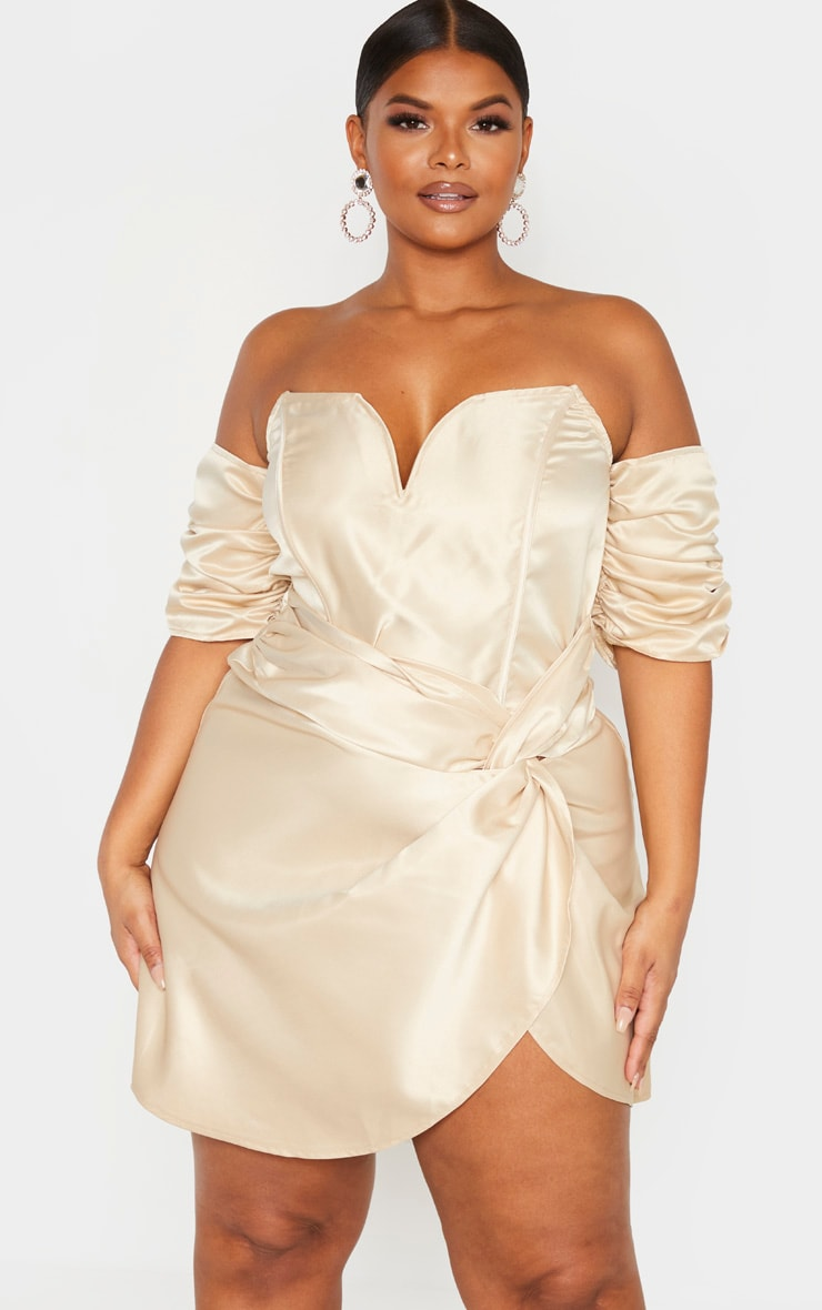 Plus Champagne Satin V Bar Wrap Bodycon Dress  1