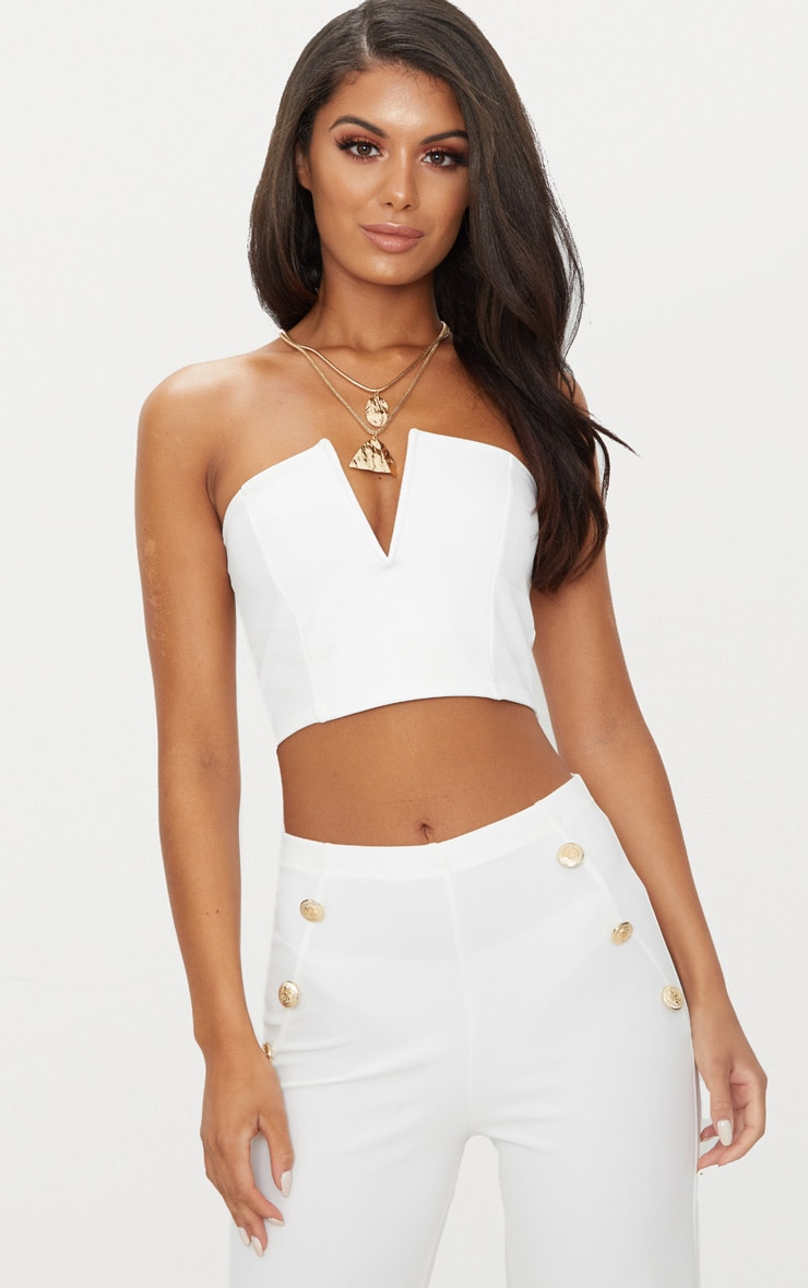 Recommend Cheap Online White Crepe V Bar Bandeau Crop Top Pretty Little Thing Really For Sale lQjpBik0D