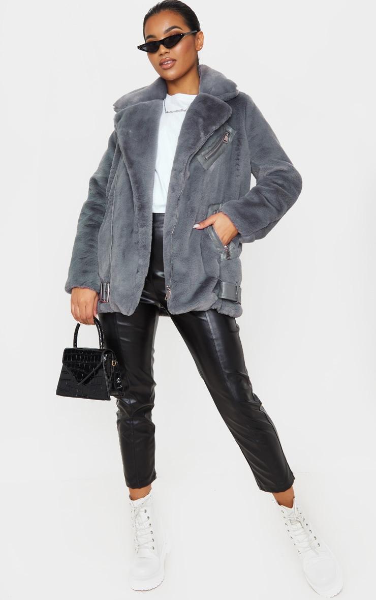 Grey Faux Fur Aviator Jacket 4