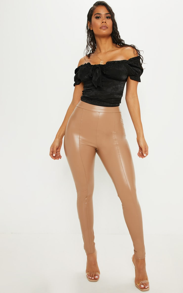 Stone Faux Leather Front Seam Legging