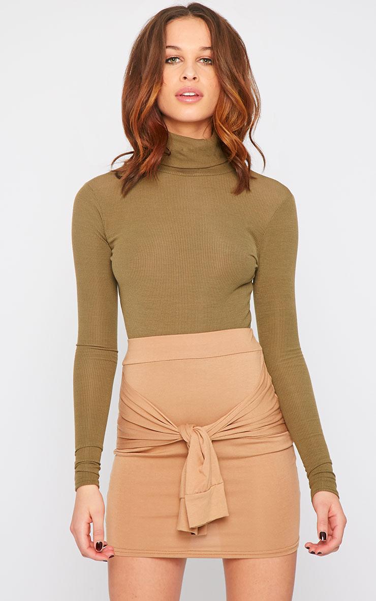 Hanneli Camel Tie Front Mini Skirt 1