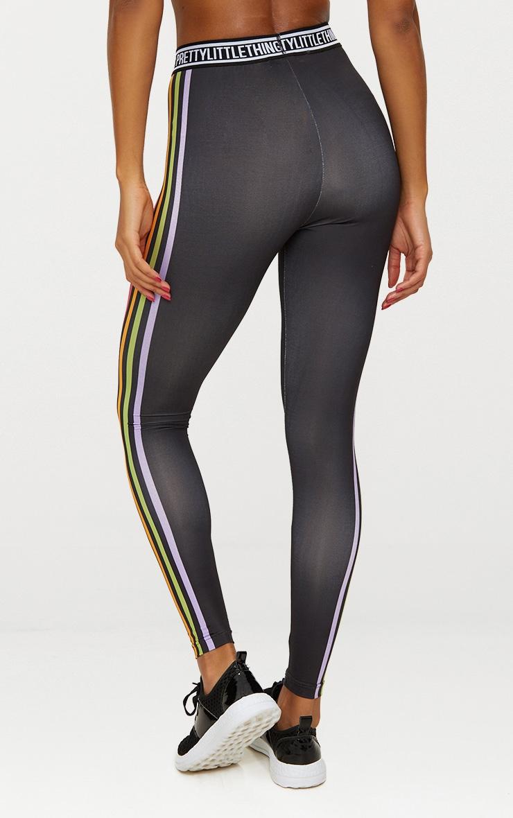 Black Multi Stripe Sports Leggings  5