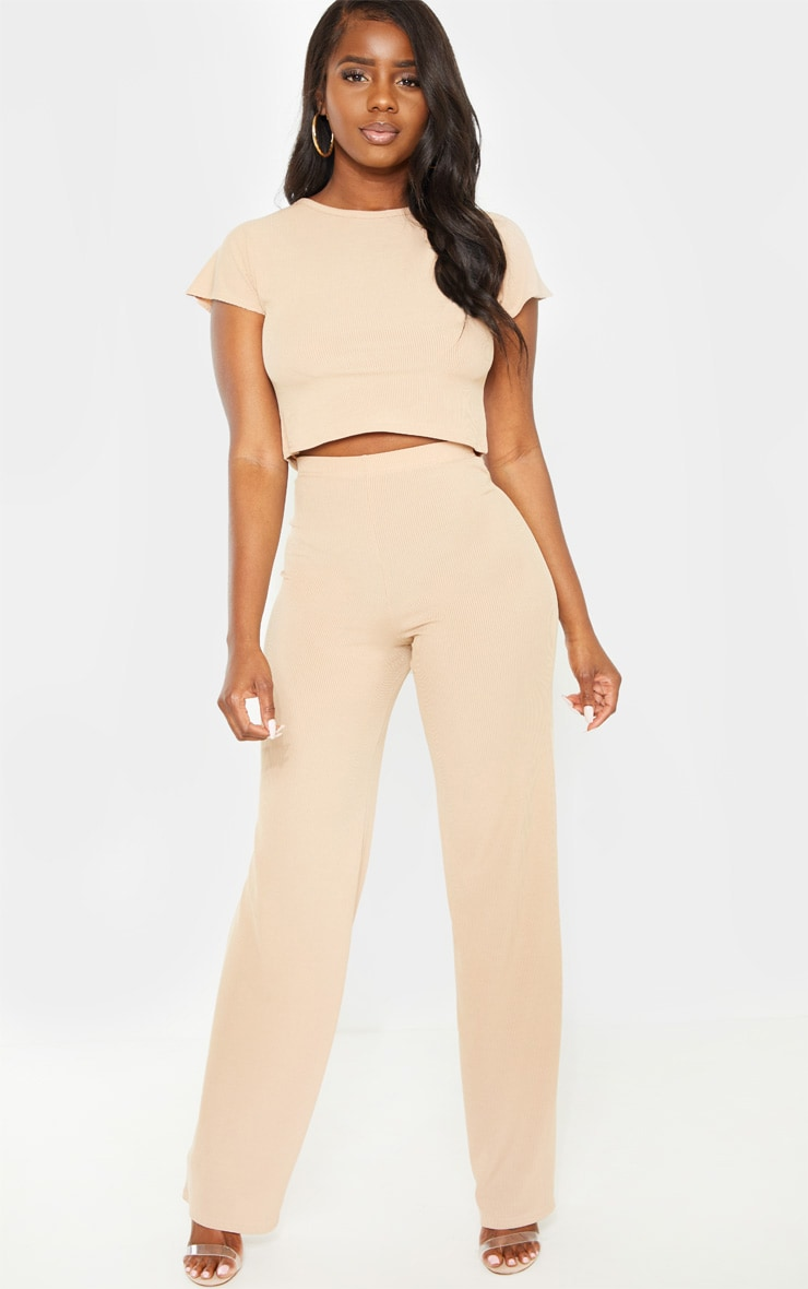 Petite Nude Ribbed Wide Leg Trousers 1