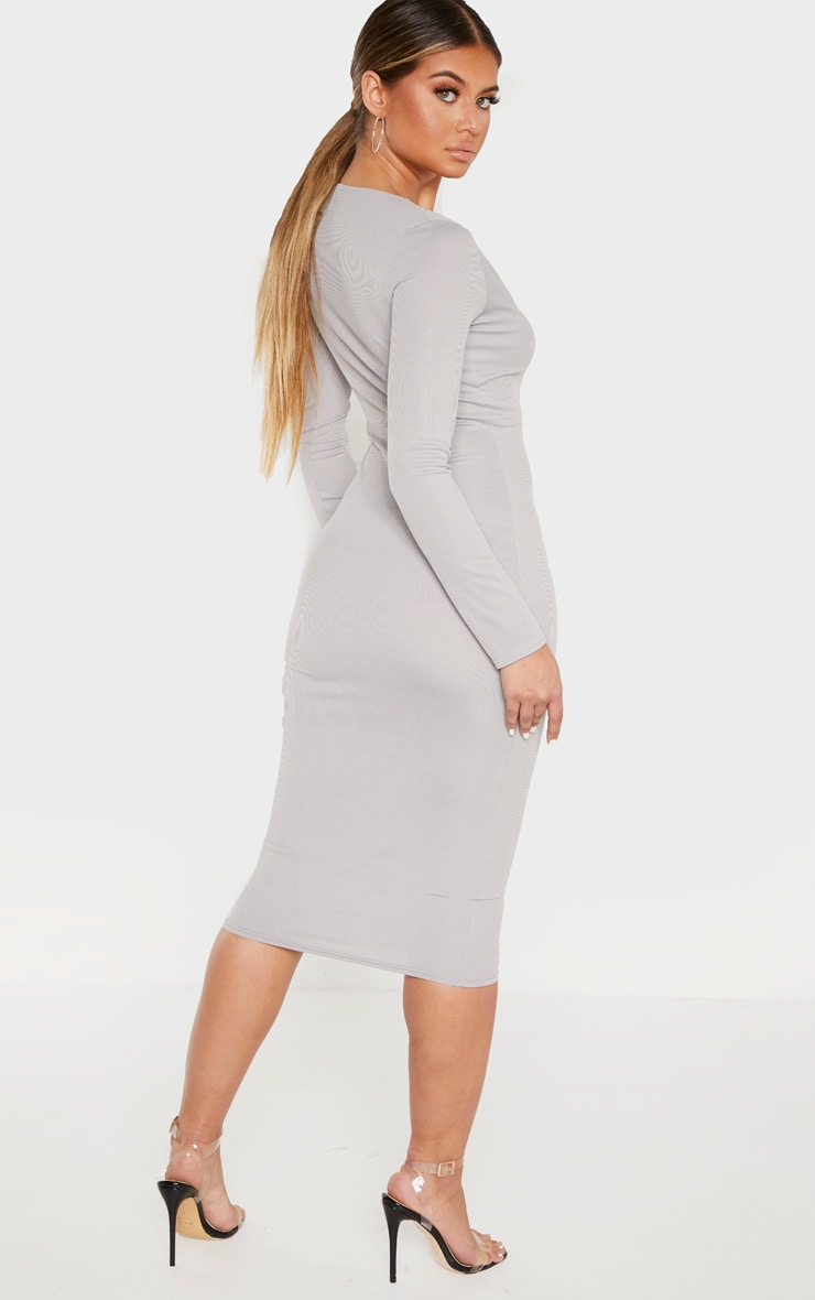 Grey Raw Edge Long Sleeve Rib Midi Dress 2