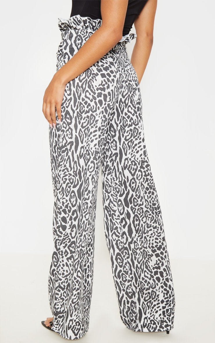 Grey Leopard Crepe Paperbag Wide Leg Trousers 4
