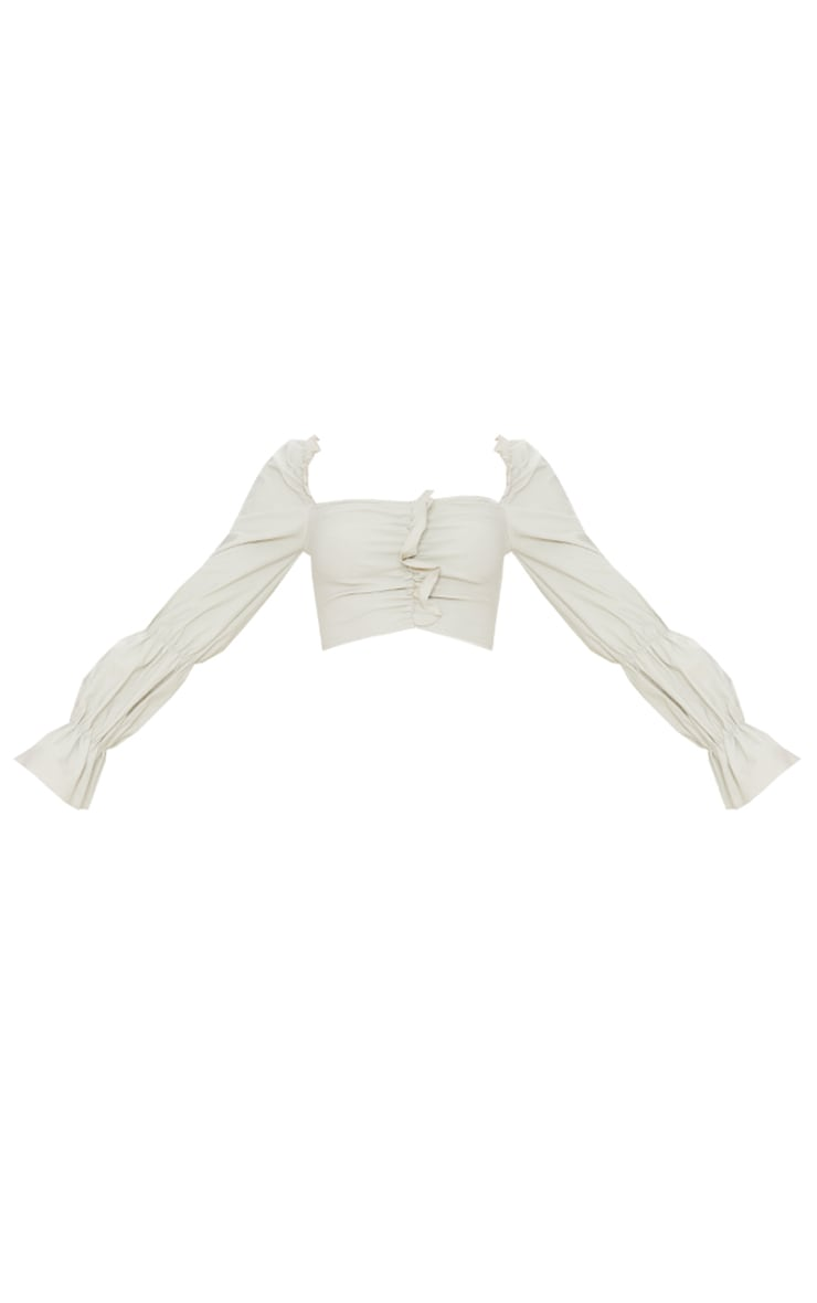 Stone Woven Stretch Frill Ruched Front Long Sleeve Crop Top 5