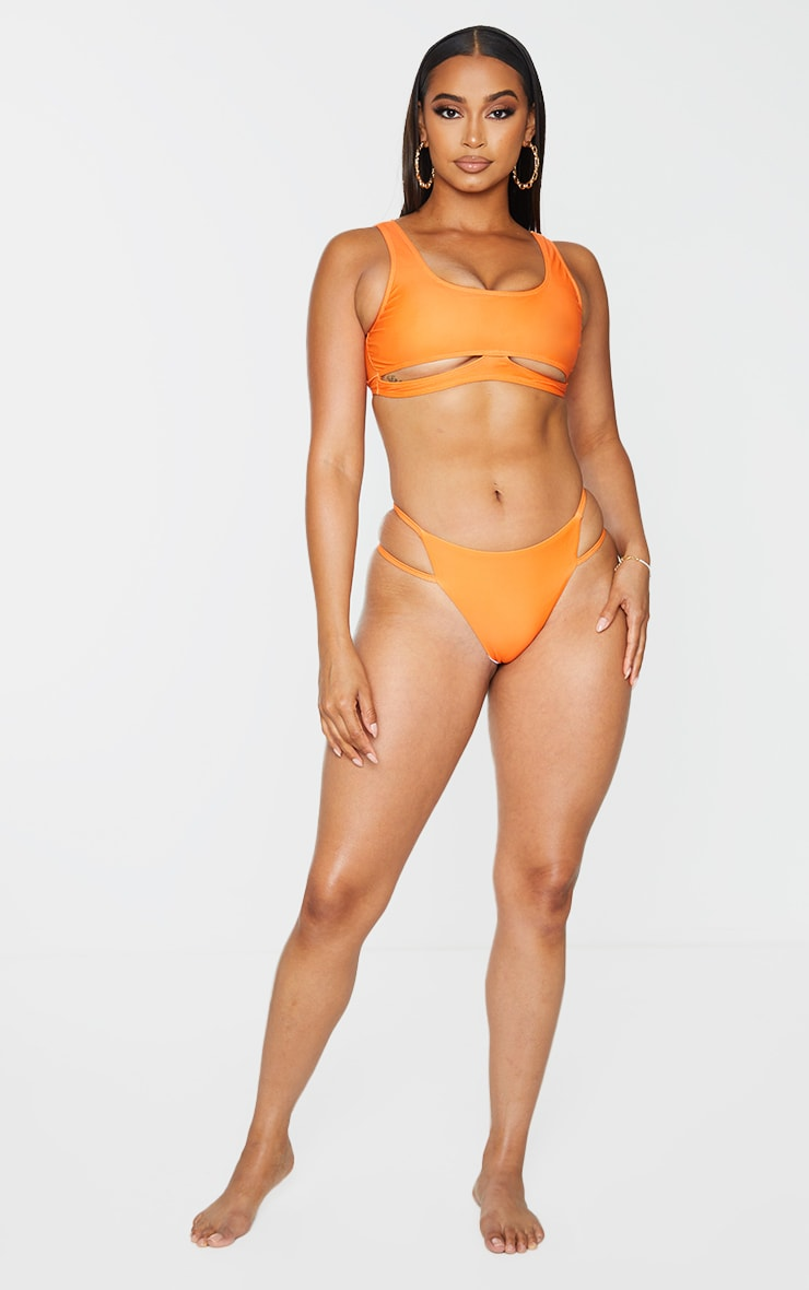 Orange Double Strap Bikini Bottoms 3
