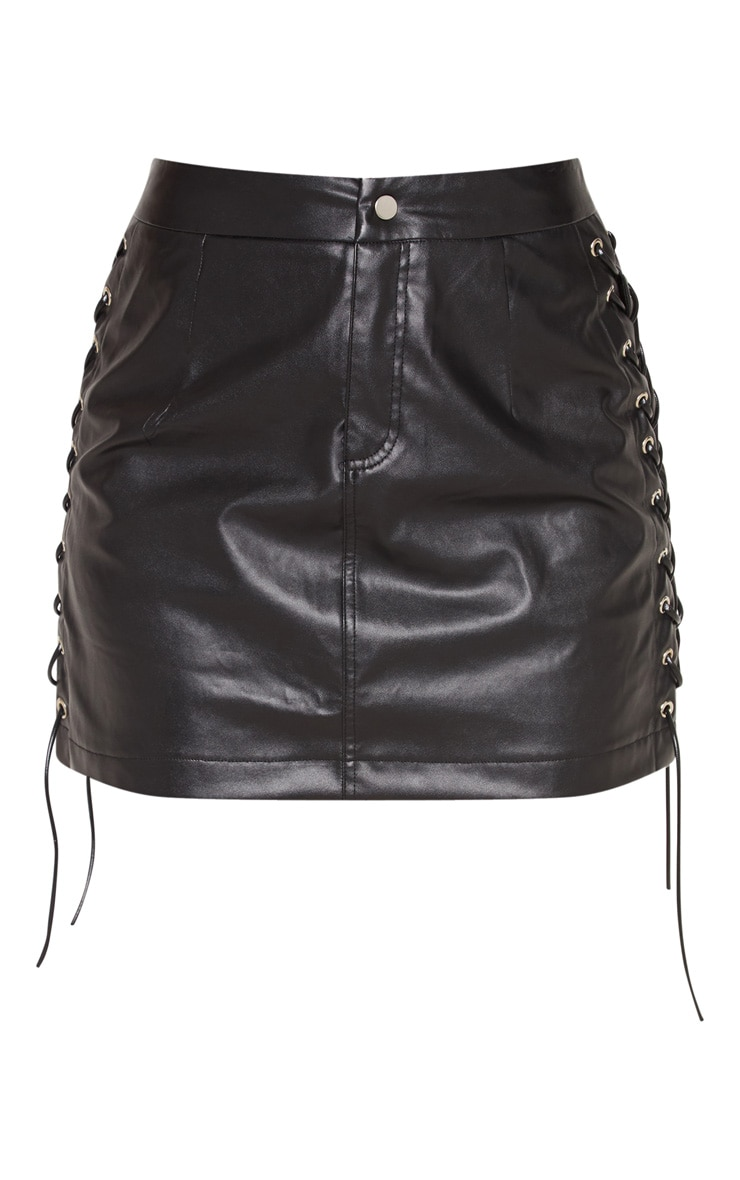 Black Faux Leather Lace Up Mini Skirt 3