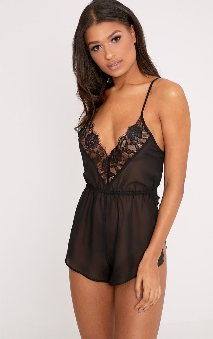 Pyjashort en mousseline de soie noir 1
