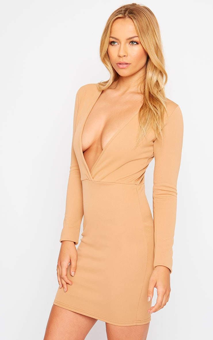 Cici Camel Scuba Plunge Neck Dress 4
