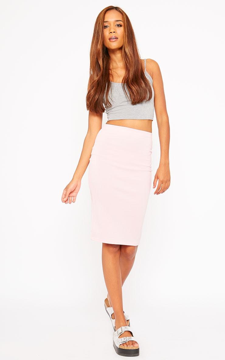 Winnie Baby Pink Scuba Midi Skirt 1
