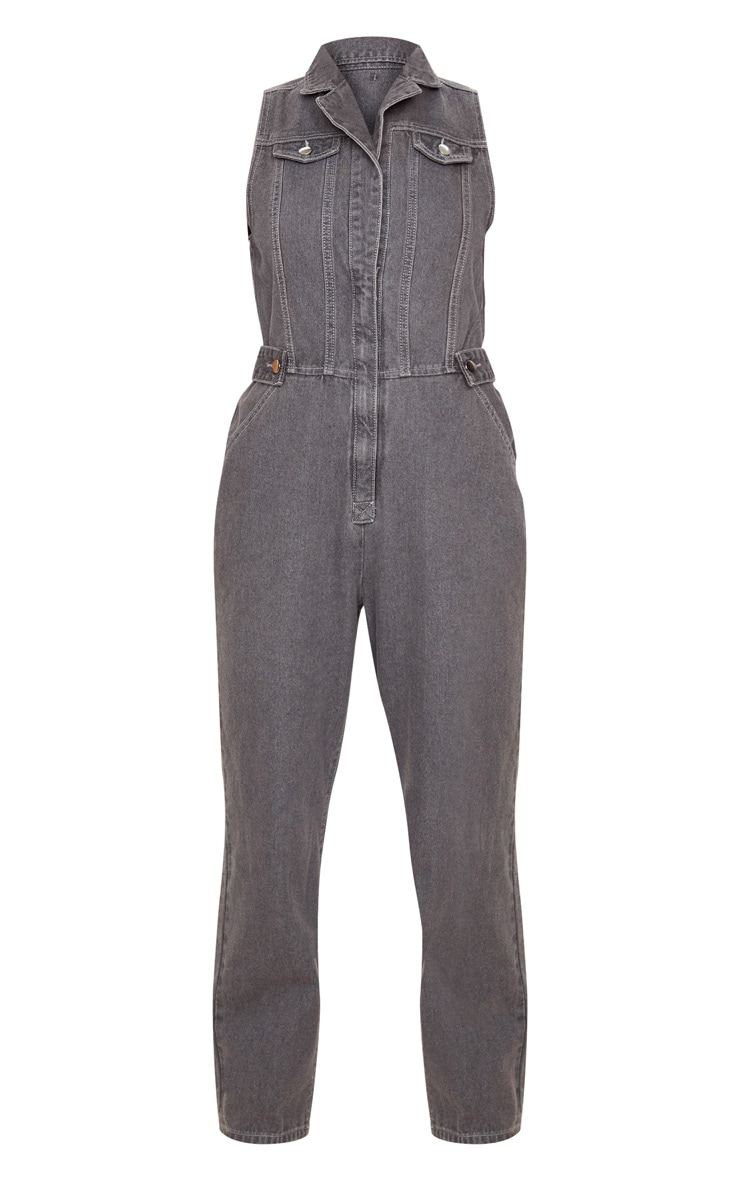 Charcoal Grey 80s Buckle Detail Boilersuit 4