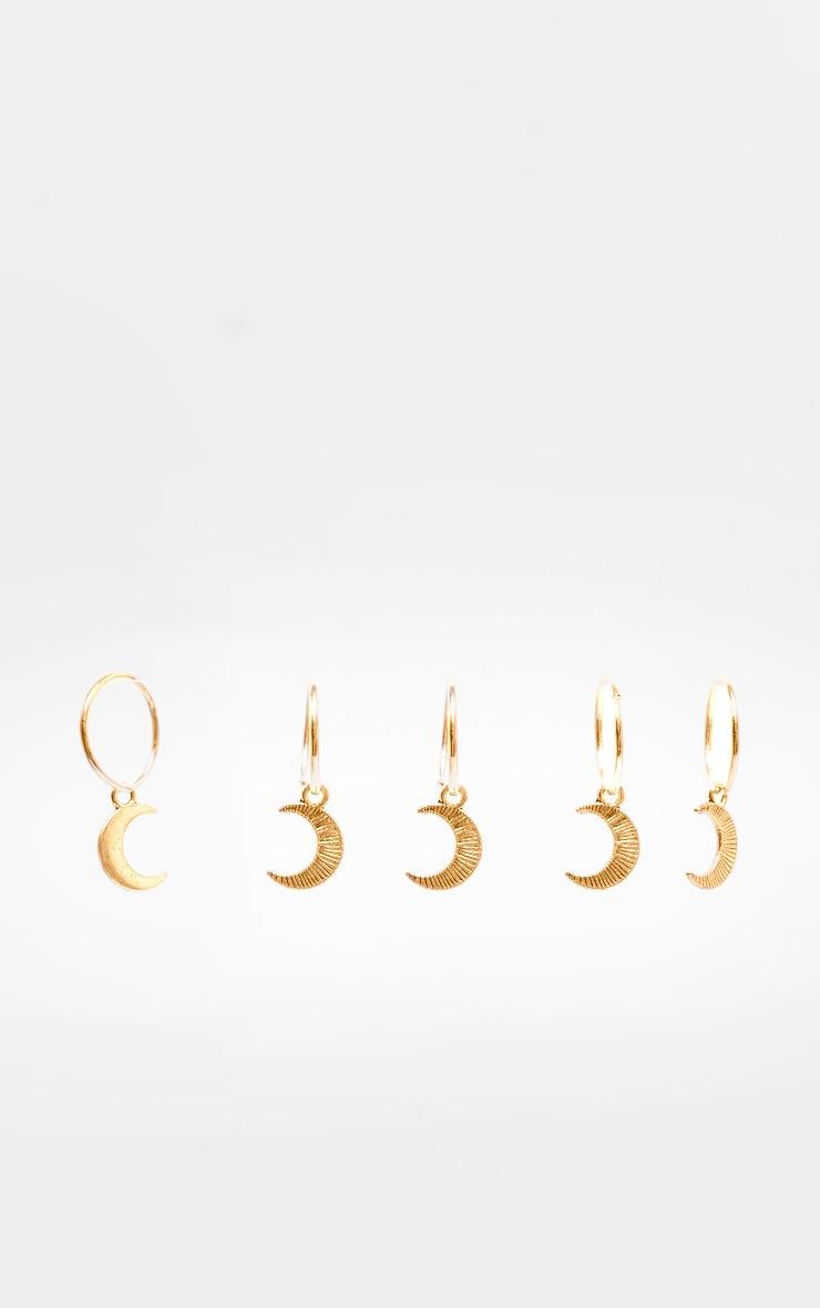 Lot de 5 anneaux dorés pour cheveux lune 2