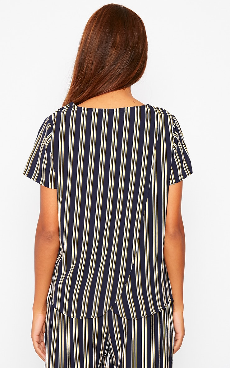 Kali Navy Stripe Drop Hem Tee 2