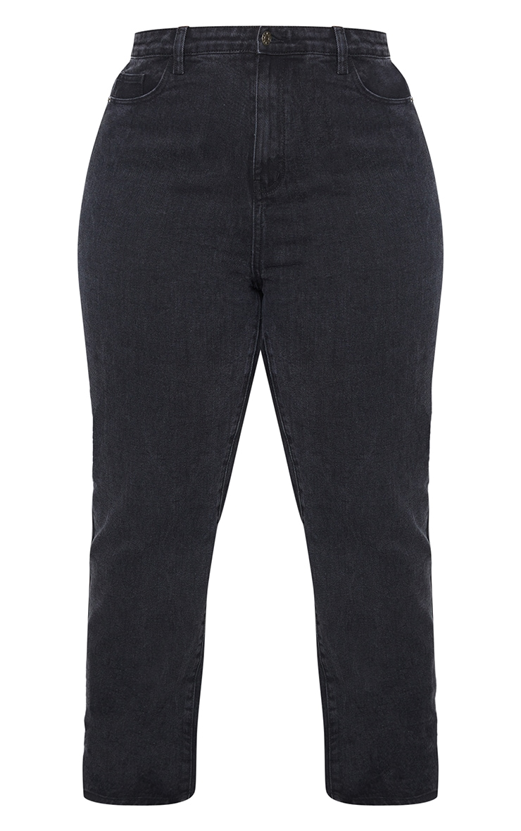 PRETTYLITTLETHING Plus Washed Black Straight Leg Jean 5