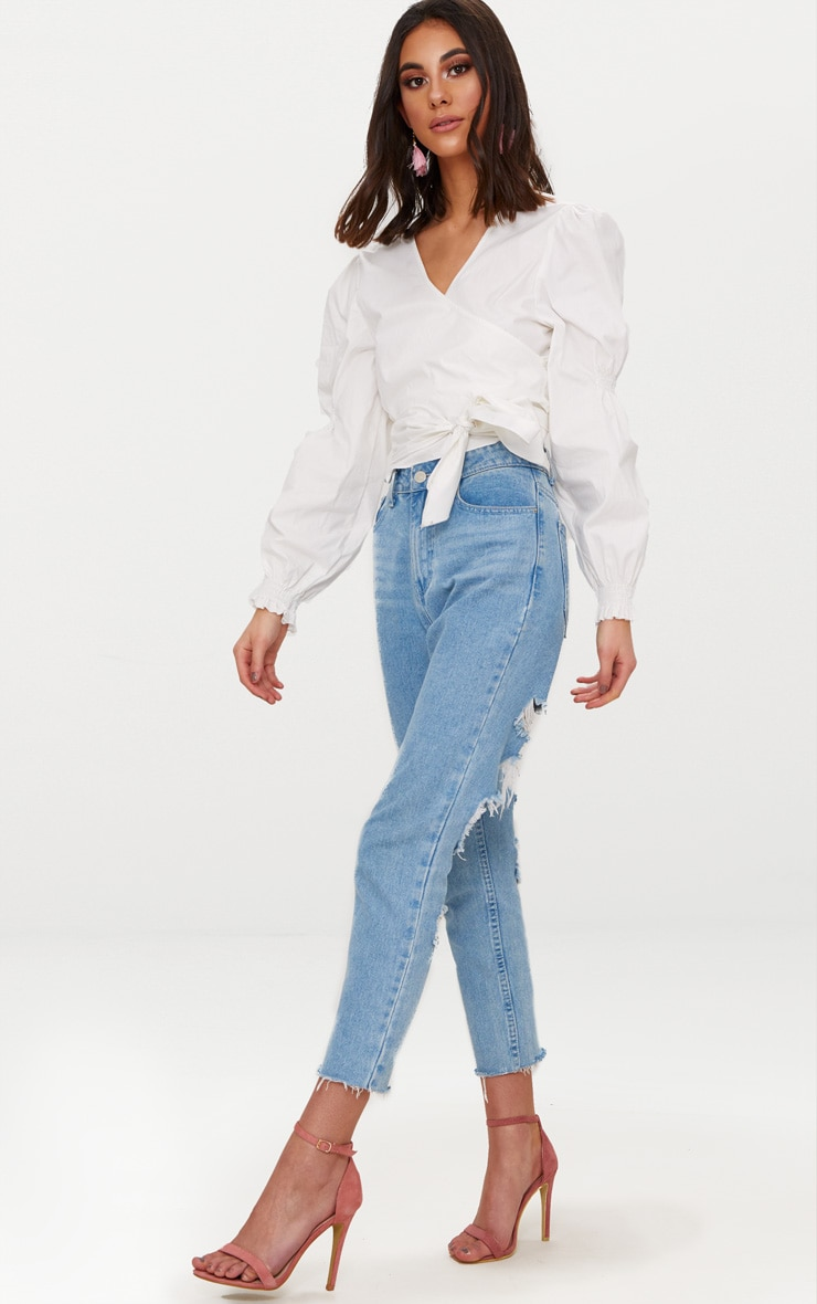 White Wrap Front Puff Shoulder Crop Shirt  4