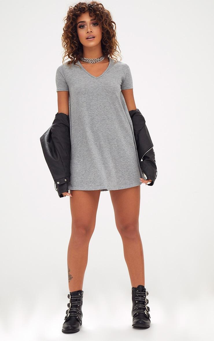Grey Marl Cap Sleeve V Neckline Swing Dress 4