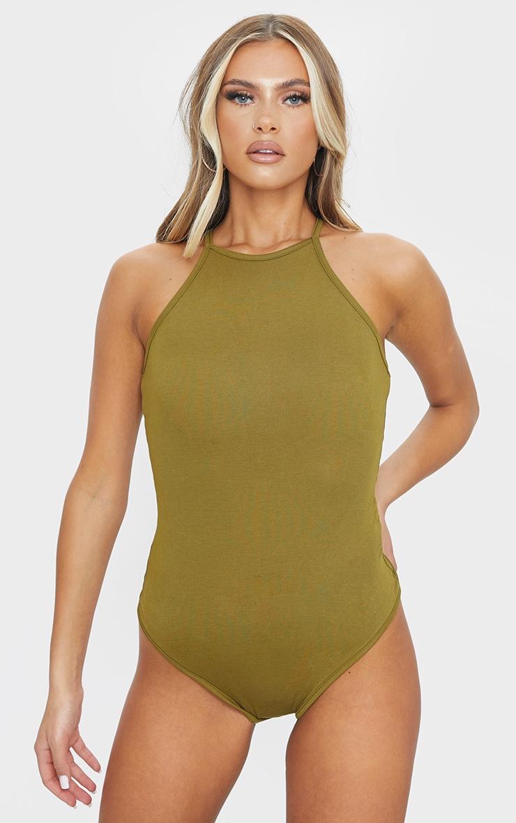 Body-string col nageur basique vert olive 2