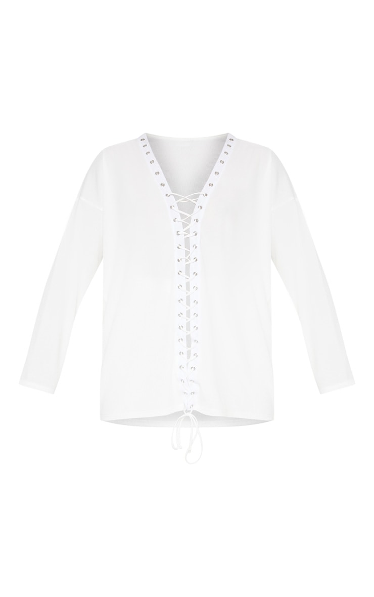 White Lace Up Oversized Rib Top 3