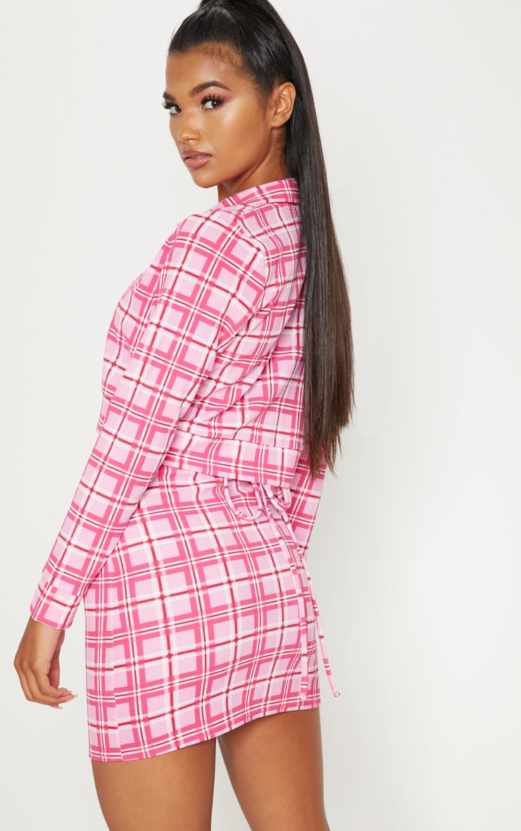 Pink Check Print Button Front Cropped Jacket 2