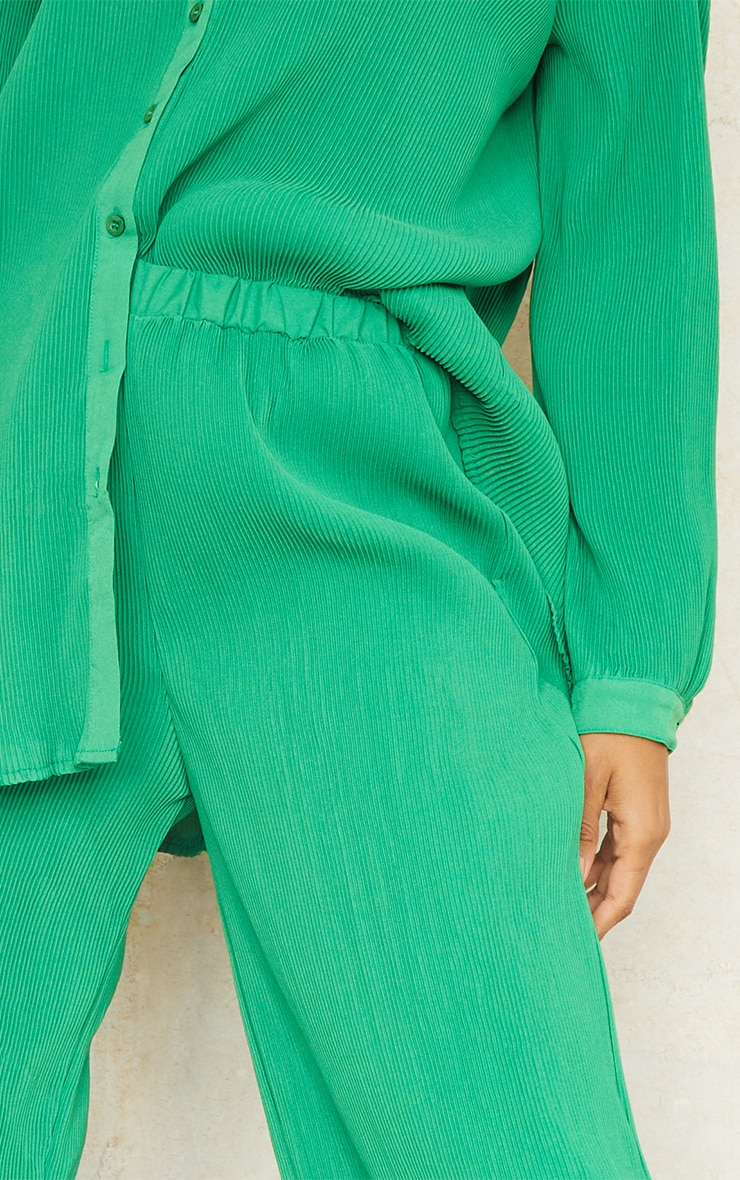 Bright Green Plisse High Waisted Wide Leg Trousers 4