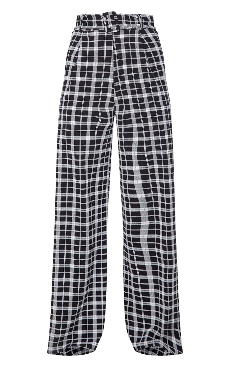 Check Belted Wide Leg Pants 3