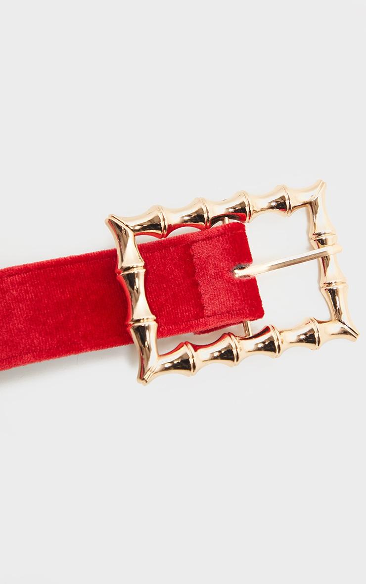 Scarlet Red Velvet Bamboo Buckle Belt 4