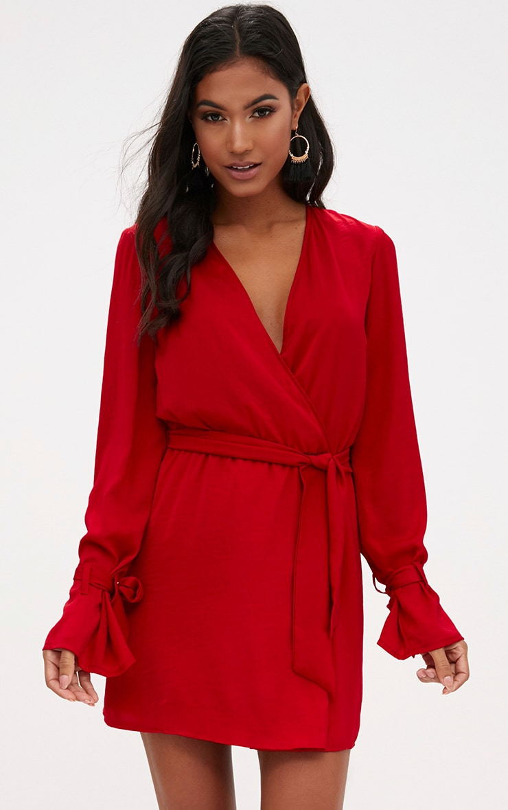 Red Satin Wrap Cuff Detail Shift Dress 1