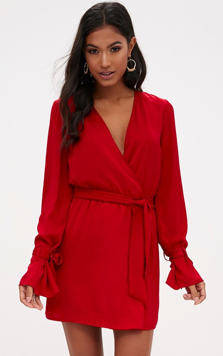Red Satin Wrap Cuff Detail Shift Dress Dresses