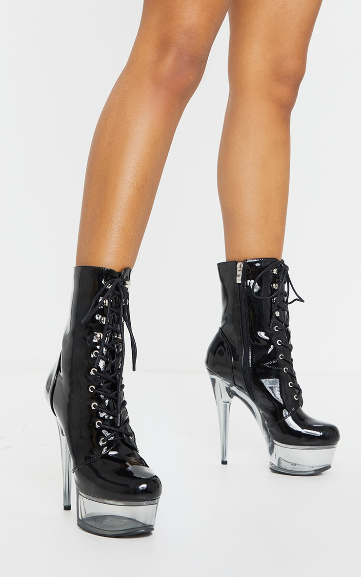 Black Patent Lace Up Extreme Platform Heeled Boot 2