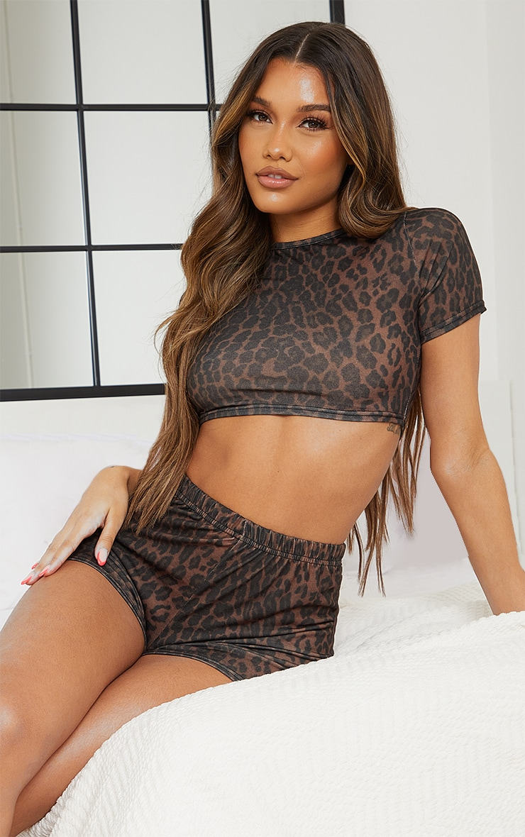 Brown Leopard Print Short Pj Set 1