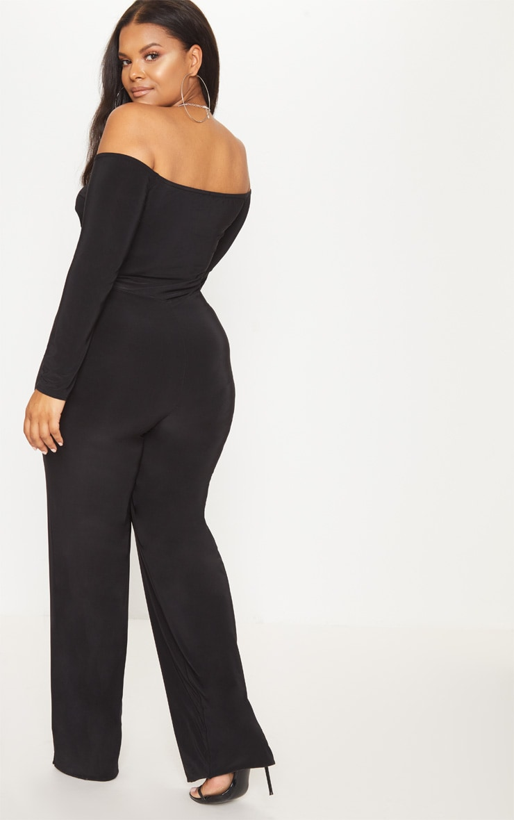 Plus Black Slinky Twist Bardot Wide Leg Jumpsuit 2