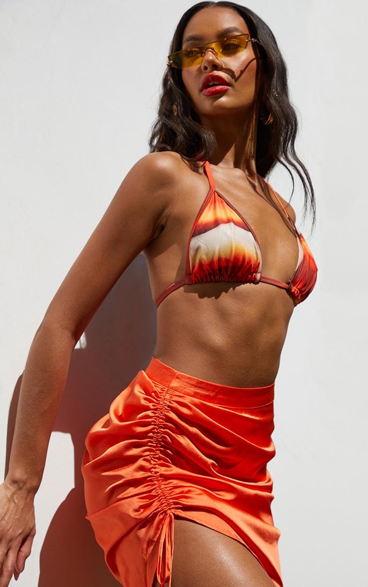 Orange Ruched Front Mini Skirt 5