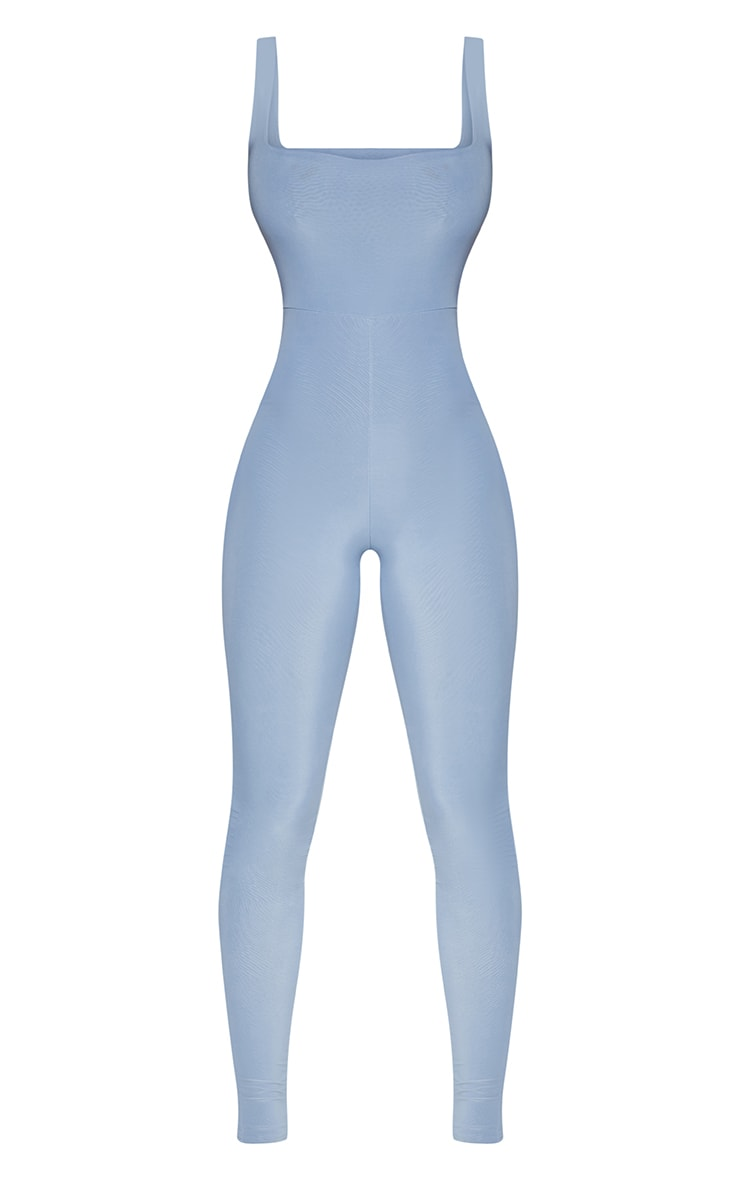 Dusky Blue Second Skin Slinky Square Neck Jumpsuit 3