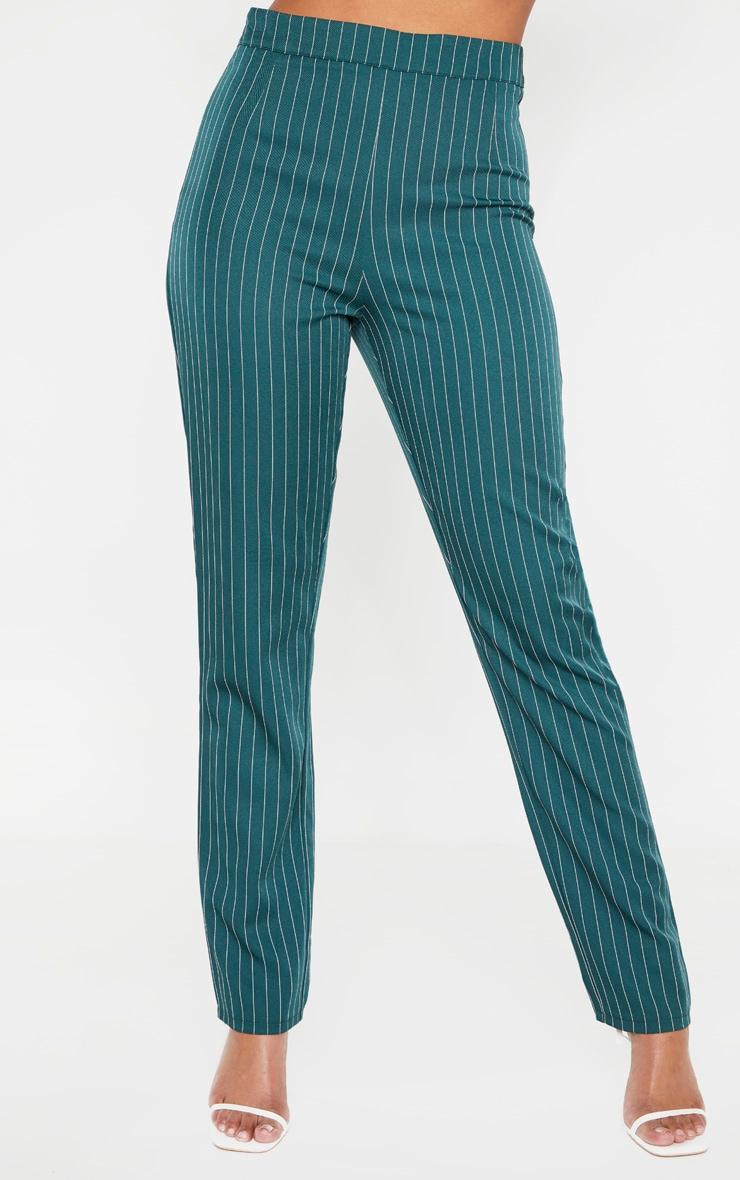 Jasper Green Pinstripe High Waisted Straight Leg Pants 2