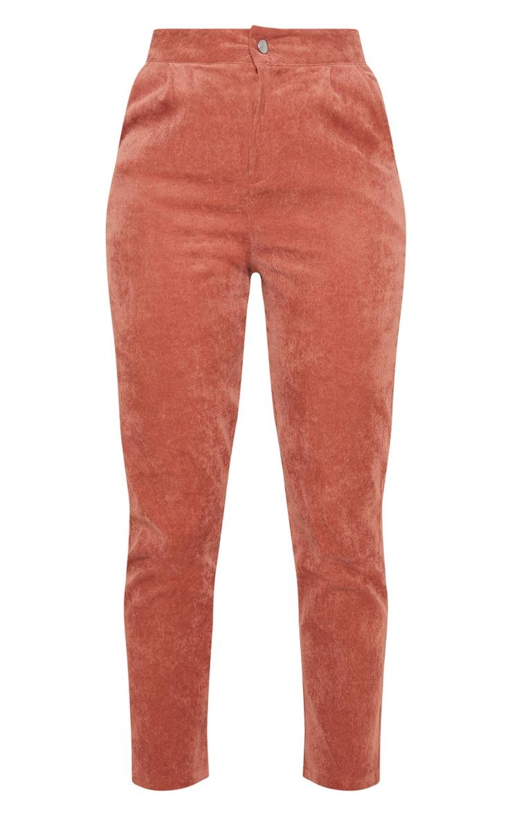 Peach Cord High Waisted Straight Leg Trouser 3
