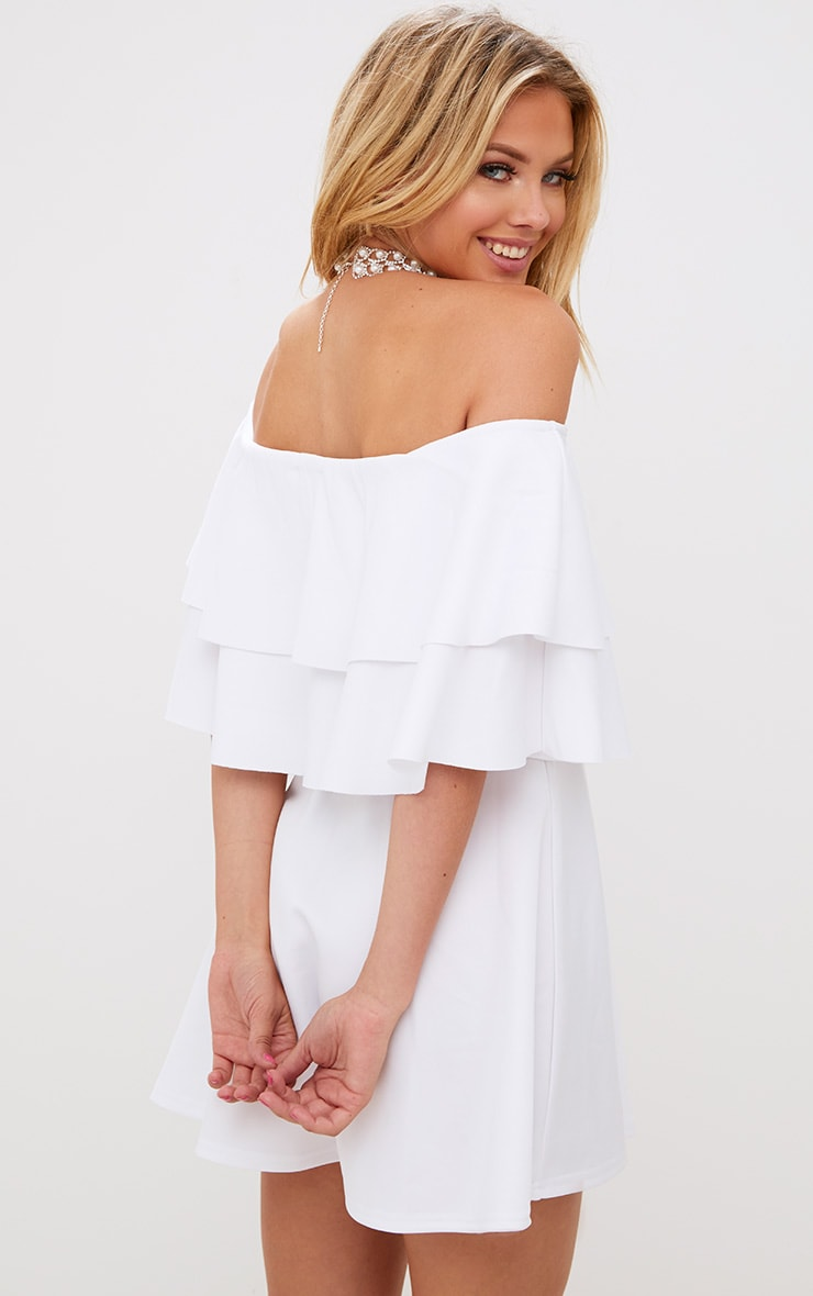 White Frill Bardot Skater Dress 2