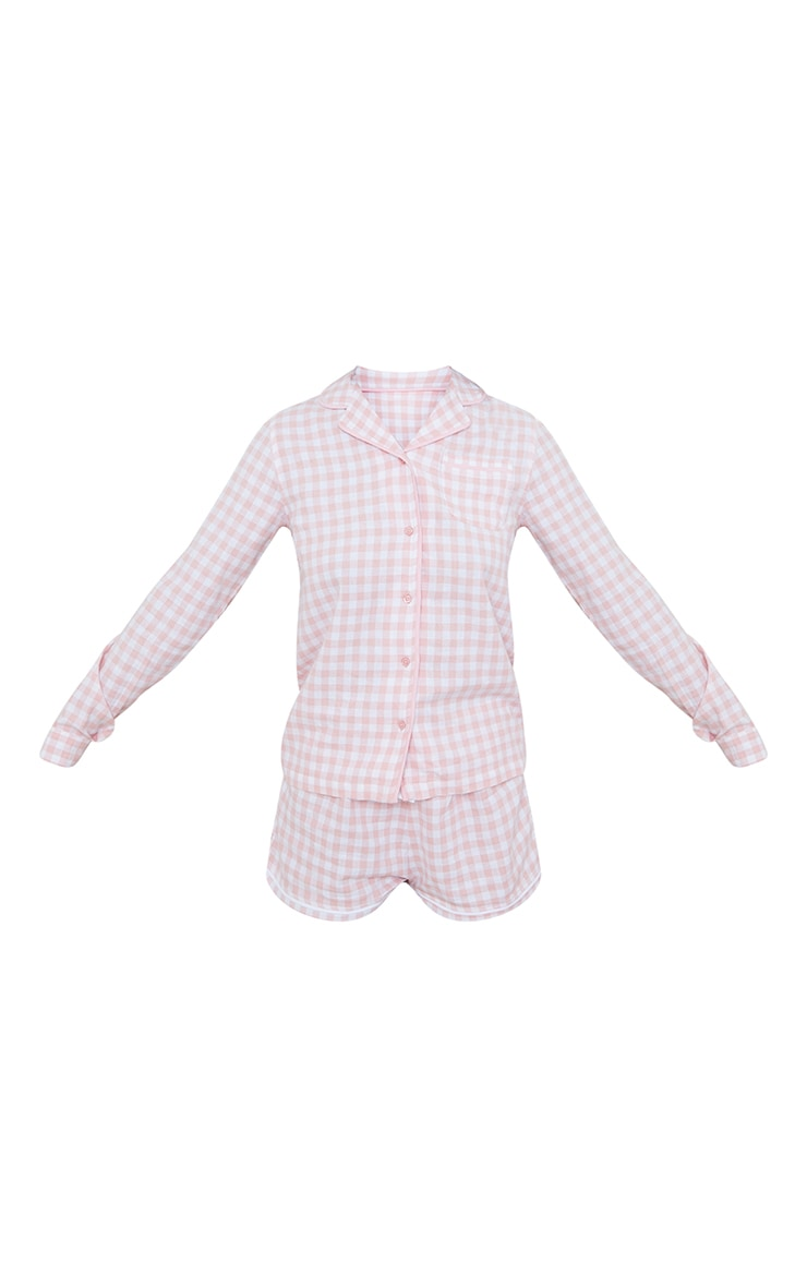 Pale Mix And Match Pink Button Up Check Pj Shirt 5