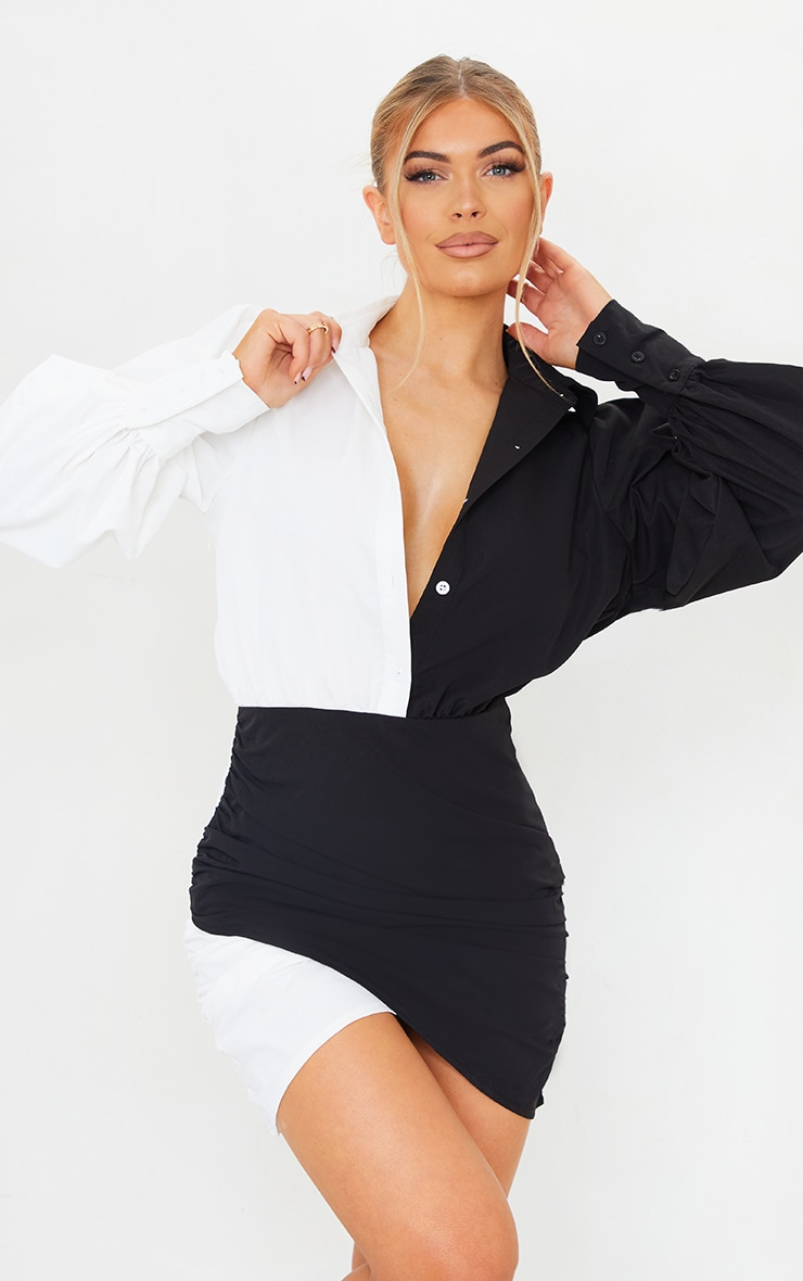 Monochrome Contrast Detail Long Sleeve Shirt Dress 1