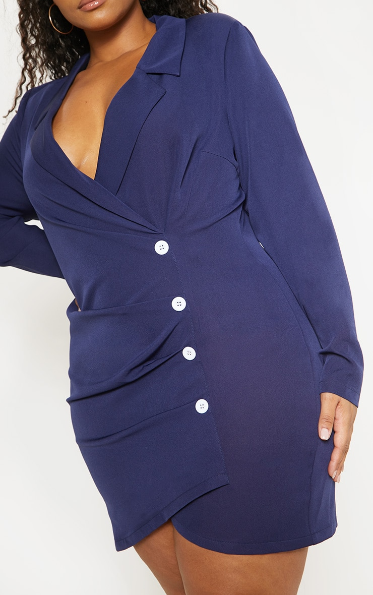 Plus Navy Ruched Detail Contrast Button Blazer Dress 5