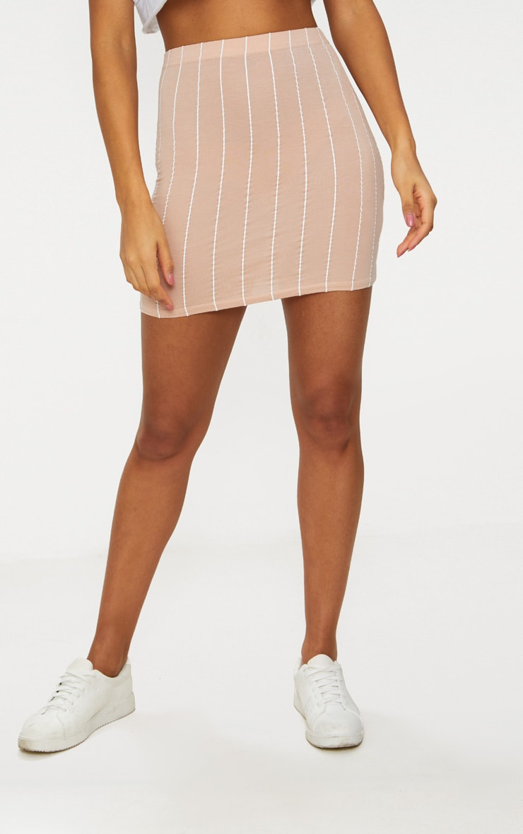 Nude Basic Jersey Pinstripe Mini Skirt 2