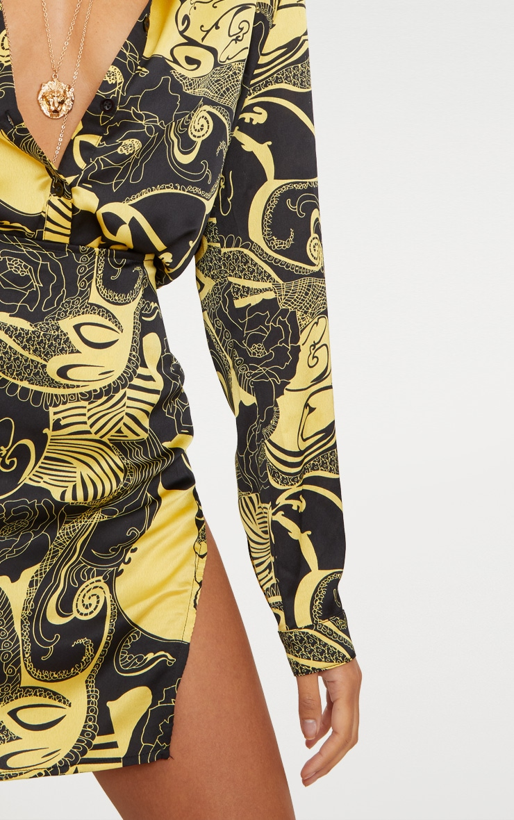 Yellow Satin Abstract Print Split Mini Skirt 4