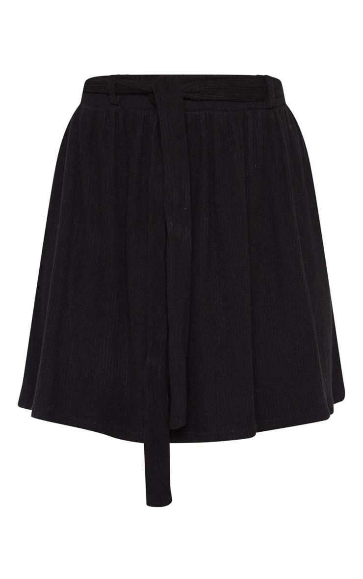 Black Brushed Rib Tie Waist Skater Skirt  3