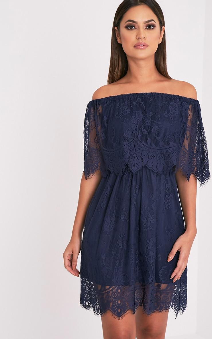 Zoe Navy Eyelash Lace Bardot Dress 1