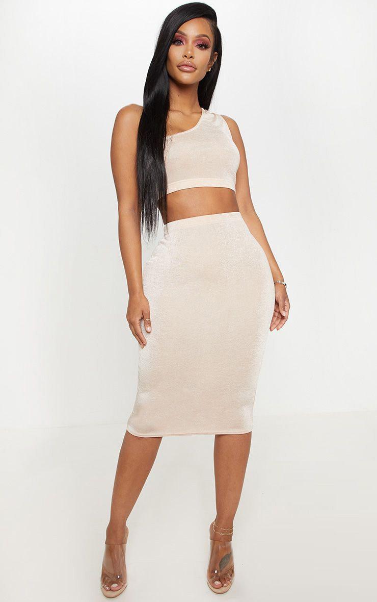 Shape High Waisted Nude Slinky Midi Skirt  1