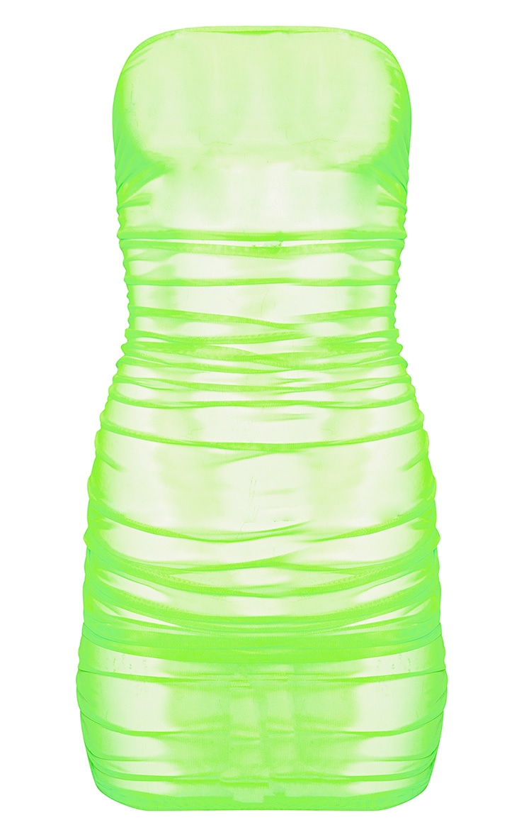 Neon Lime Ruched Mesh Dress 3