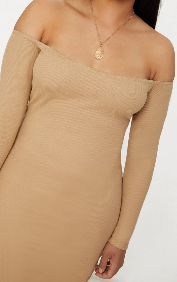 Plus Camel Second Skin Bardot Ribbed Long Sleeve Midi Dress 5
